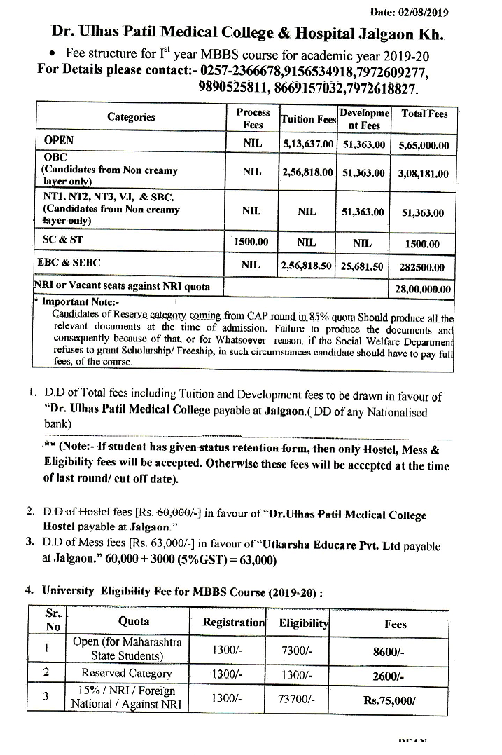 Fee Structure for I st MBBS course for academic year 2019-20 :::::